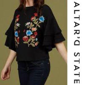 Altar'd State Minden Top Medium Black Embroidered